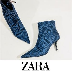 Gorgeous Blue & Black Jacquard Print Zara Booties